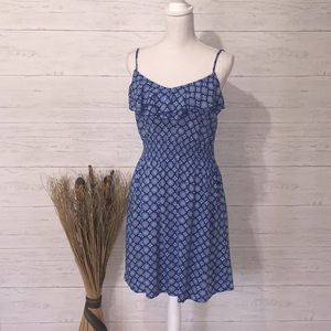 Elle Blue Bohemian Print Ruffle Top Dress